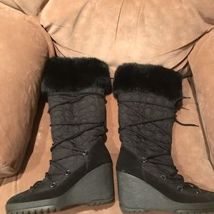 Coach Sofie Wedge Fur Boots 9 Black